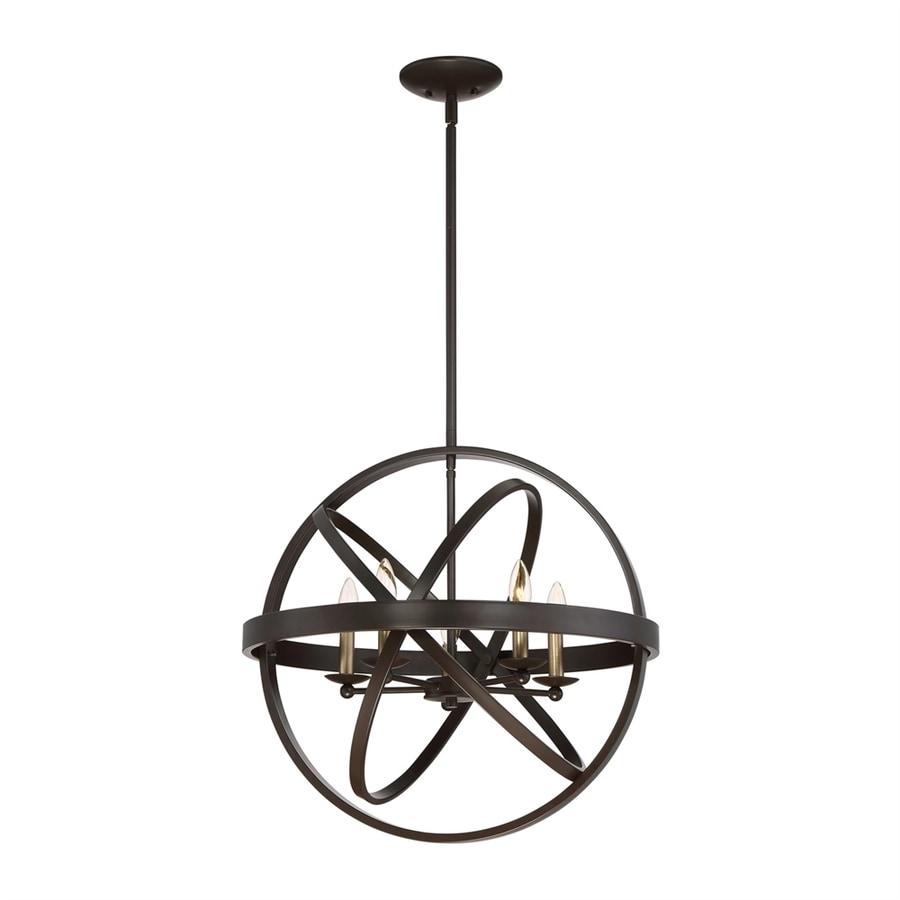 Quoizel Eons 23-in Western Bronze Wrought Iron Single Globe Pendant