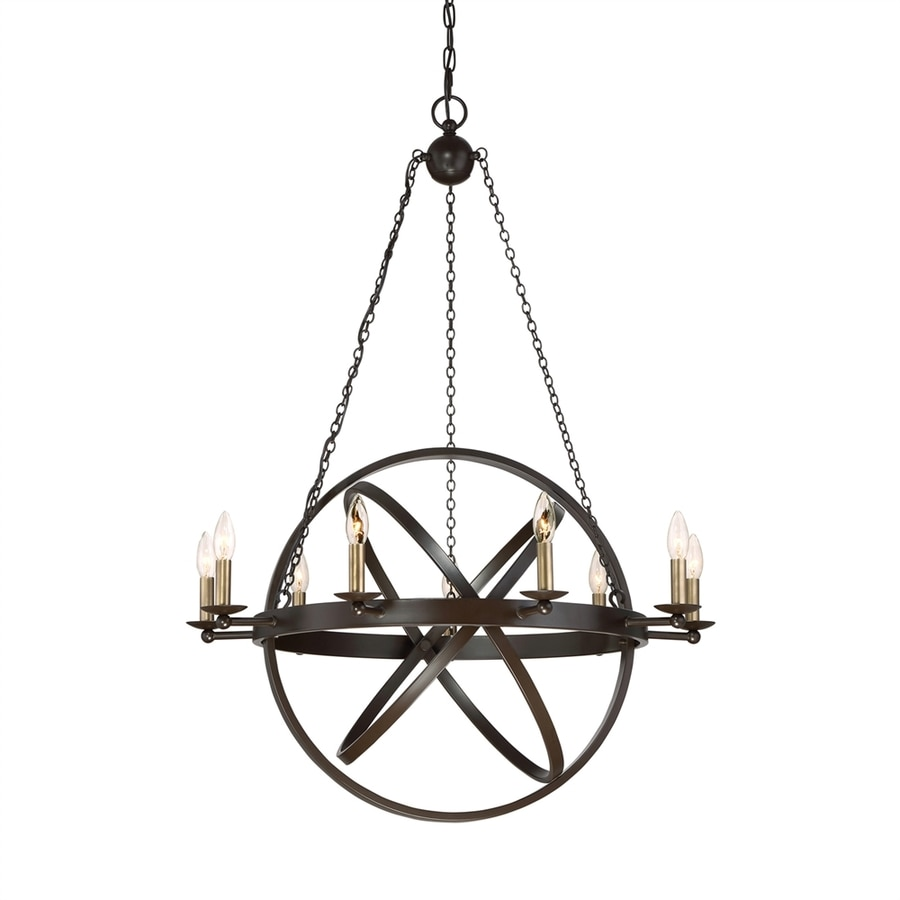Quoizel Eons 32-in 9-Light Western Bronze Hardwired Globe Chandelier