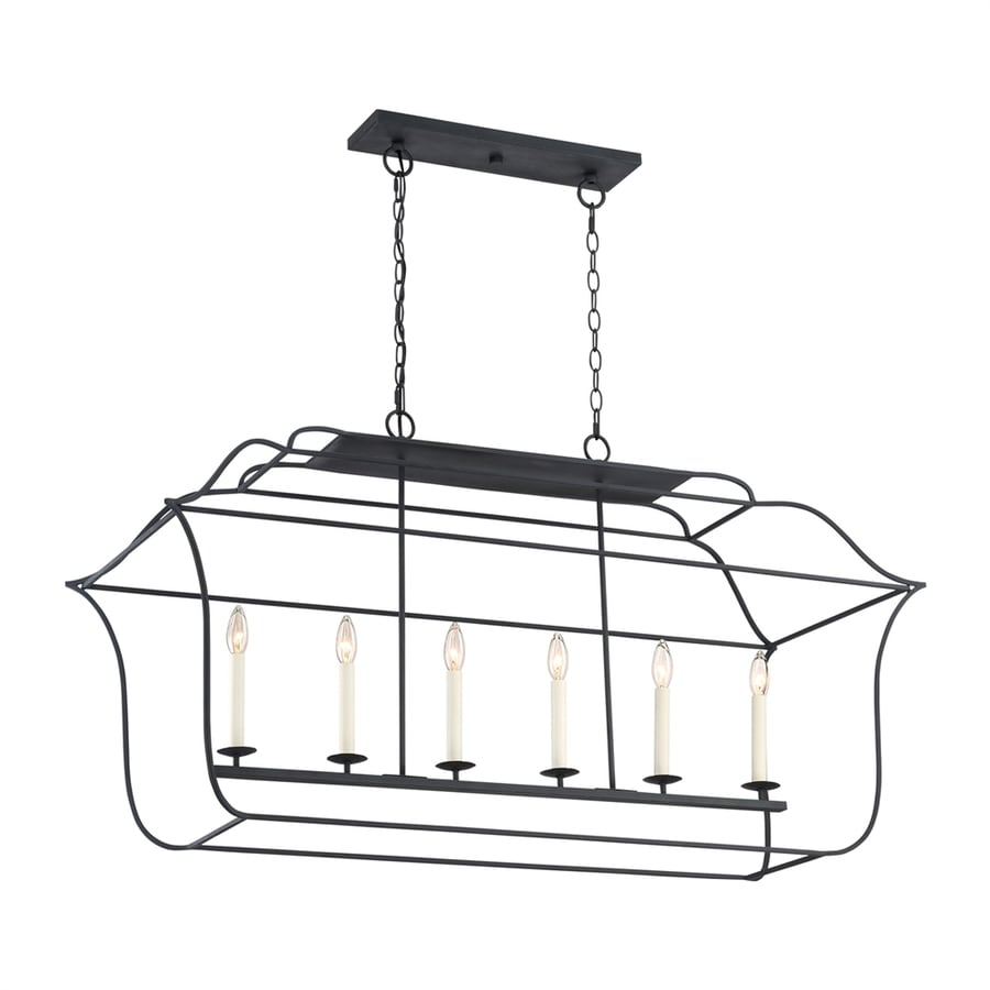 Quoizel Gallery 48-in W 6-Light Royal Ebony Kitchen Island Light with Shade