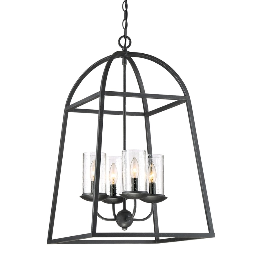 Shop quoizel gazebo 17 in 4 light grey ash wrought iron seeded quoizel gazebo 17 in 4 light grey ash wrought iron seeded glass cage chandelier arubaitofo Images