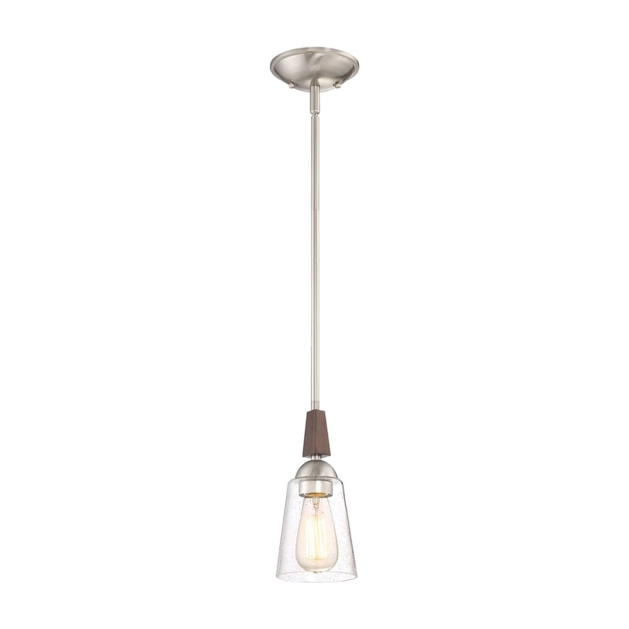 Quoizel Holbeck 4.75-in Brushed Nickel Industrial Mini Clear Glass Cone Pendant