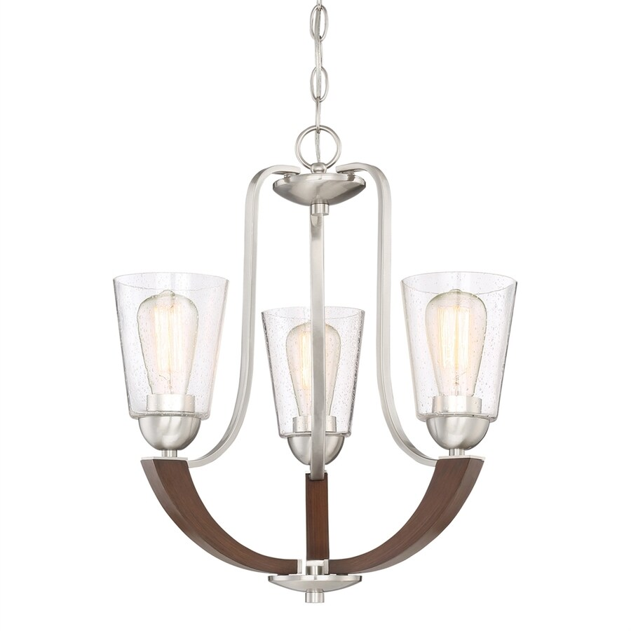 Quoizel Holbeck 19-in 3-Light Brushed Nickel Seeded Glass Candle Chandelier
