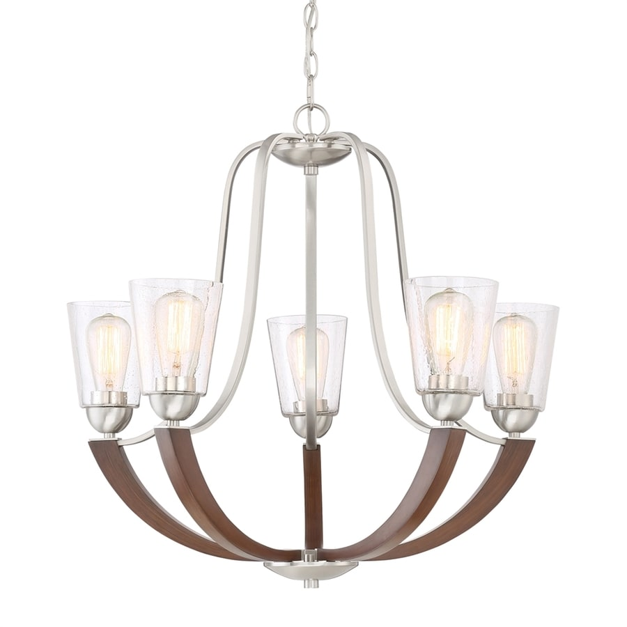 Quoizel Holbeck 27-in 5-Light Brushed Nickel Hardwired Seeded Glass Candle Chandelier
