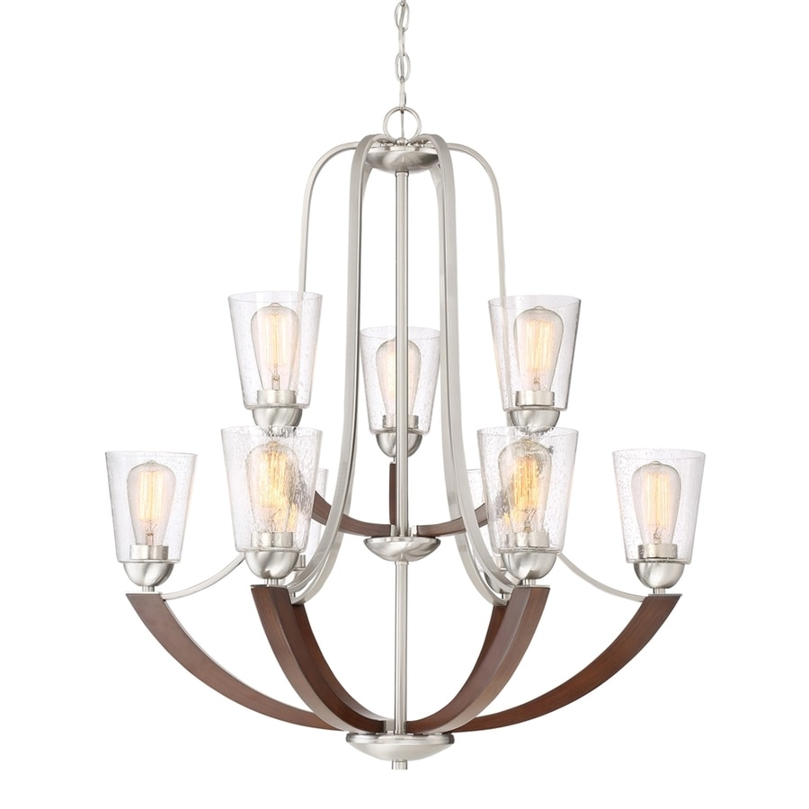Shop quoizel holbeck 31 in 9 light brushed nickel seeded glass quoizel holbeck 31 in 9 light brushed nickel seeded glass tiered chandelier arubaitofo Images