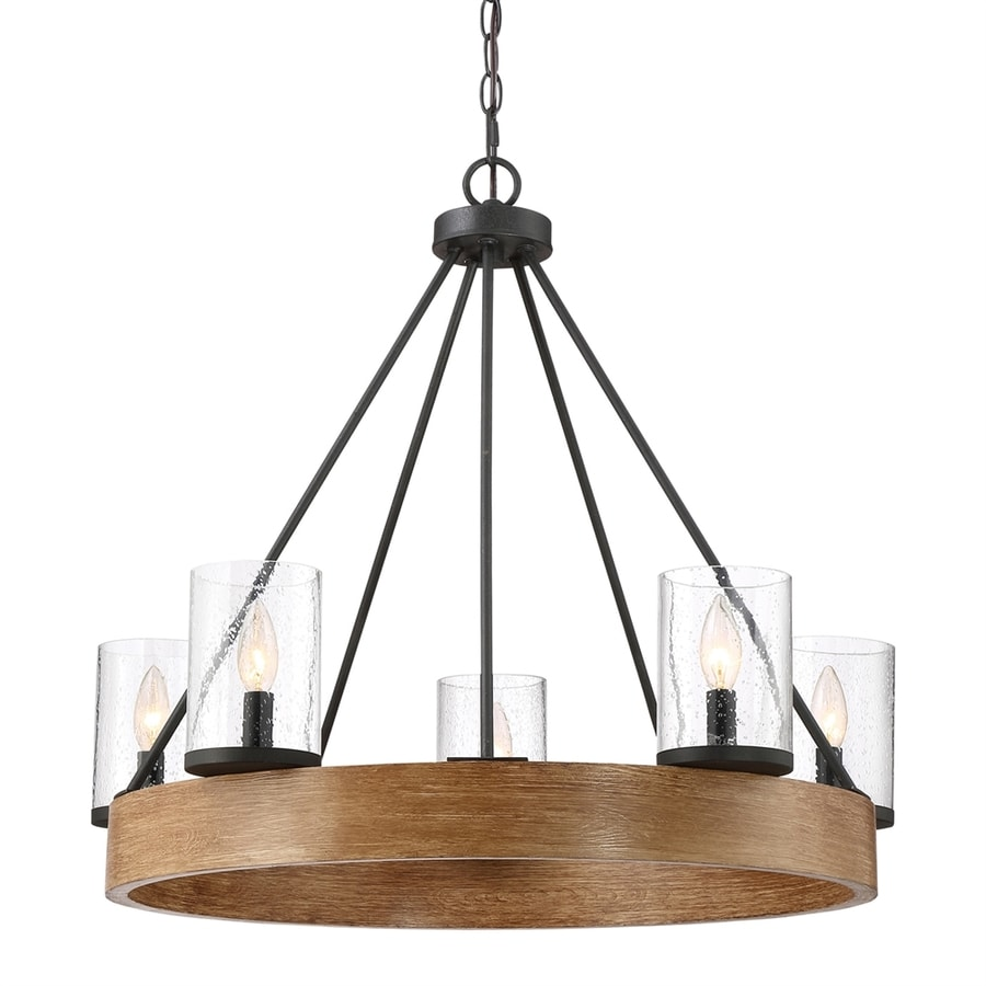 Quoizel Lounge 27.5-in 5-Light Grey Ash Mediterranean Hardwired Seeded Glass Candle Chandelier