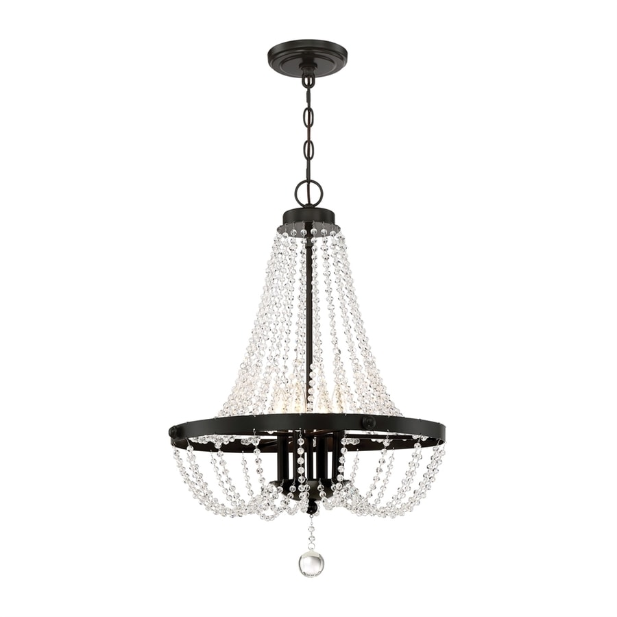 Quoizel Livery 21.25-in 4-Light Western bronze Crystal Empire Chandelier