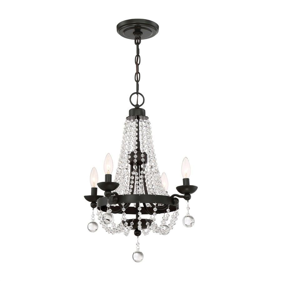 Quoizel Livery 17.5-in 4-Light Western Bronze Crystal Hardwired Empire Chandelier