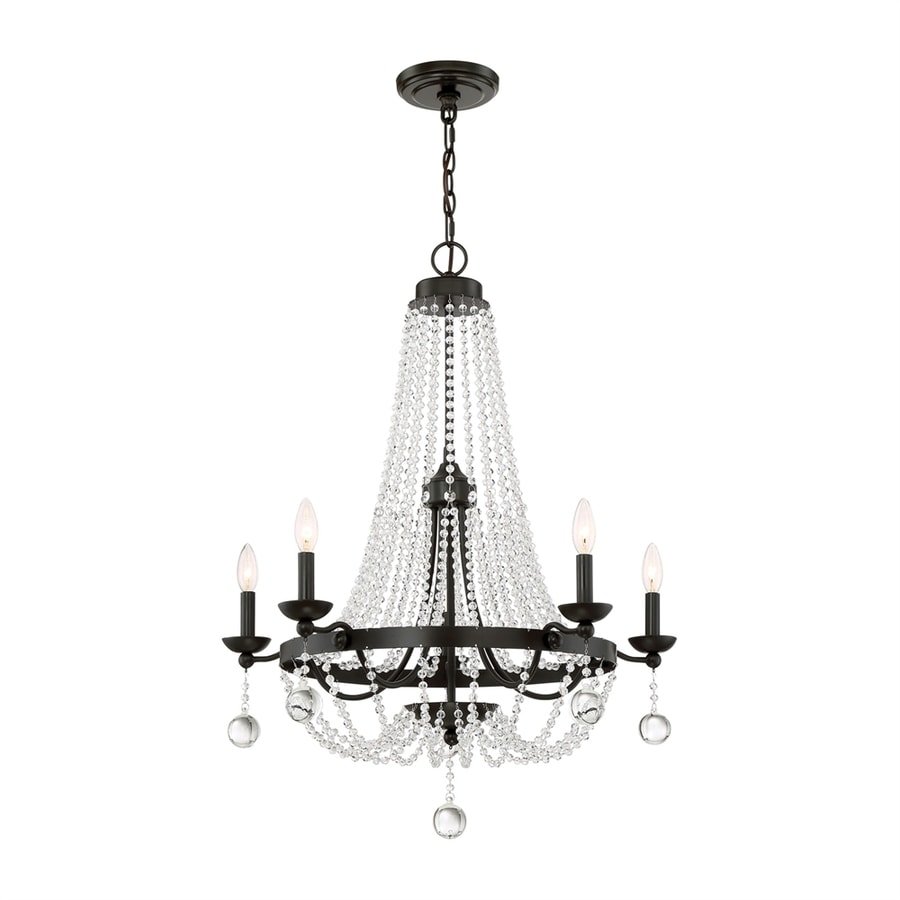 Quoizel Livery 28-in 5-Light Western Bronze Crystal Hardwired Empire Chandelier