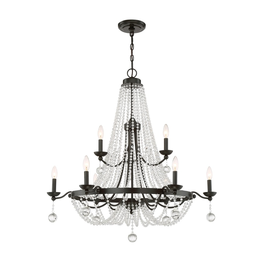 Quoizel Livery 35.75-in 9-Light Western Bronze Crystal Hardwired Empire Chandelier