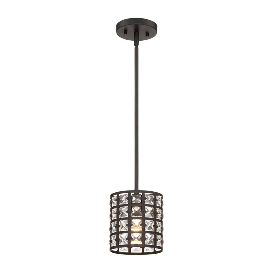 Quoizel Luxury 6.5-in Imperial Bronze Crystal Mini Crystal Cylinder Pendant