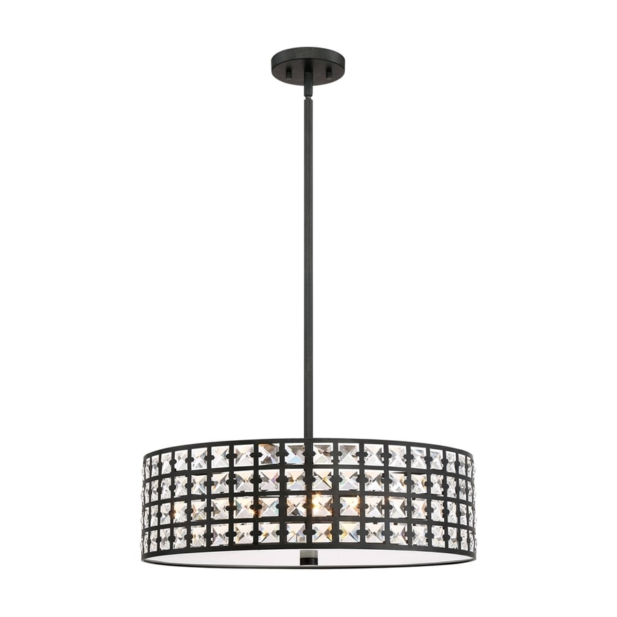 Quoizel Luxury 21.75-in Imperial Bronze Crystal Single Crystal Drum Pendant