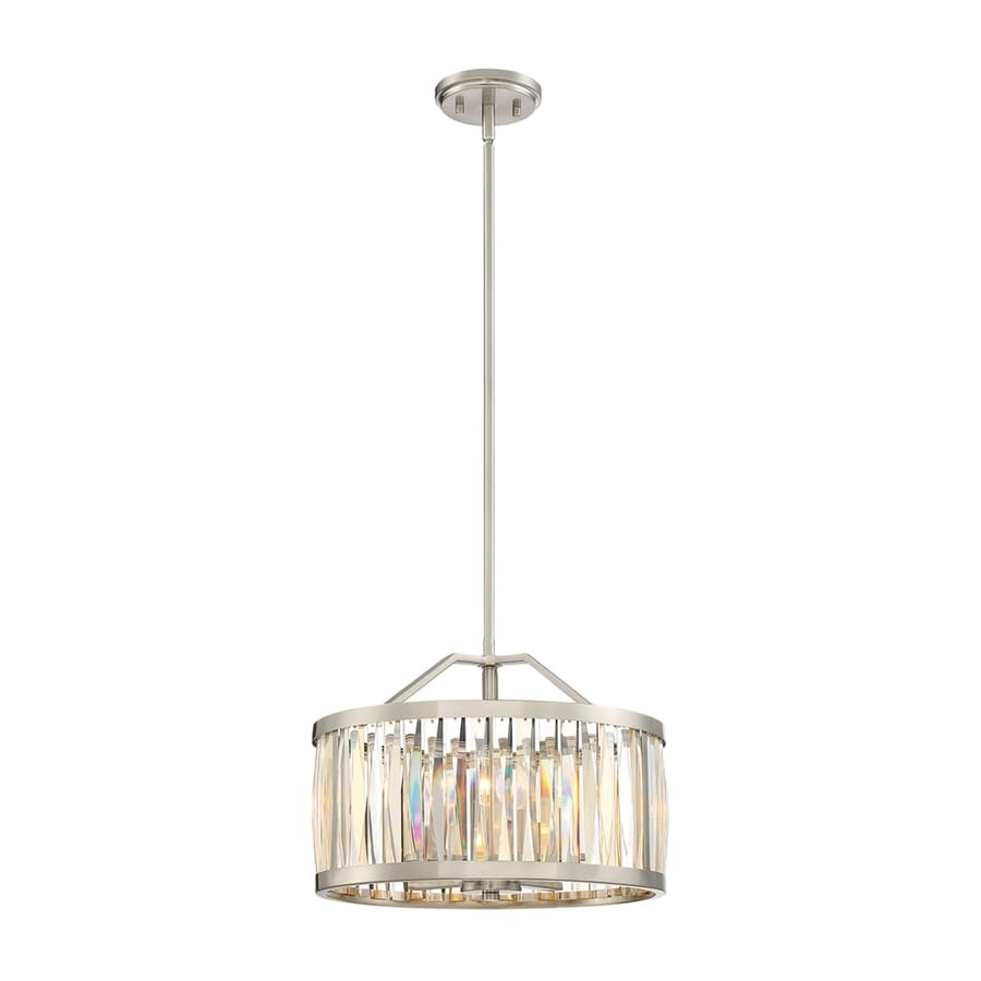 Quoizel Ballet 16.5-in Brushed Nickel Single Clear Glass Drum Pendant