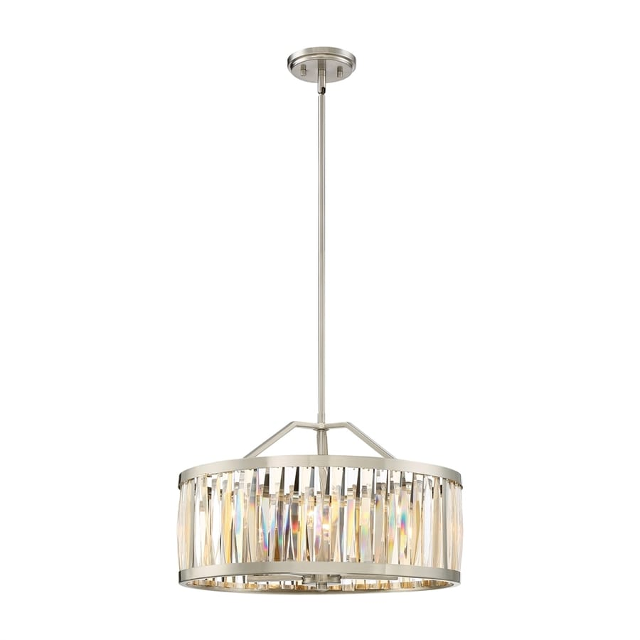 Quoizel Ballet 20.5-in Brushed Nickel Single Clear Glass Drum Pendant