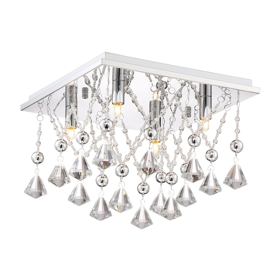 Quoizel Crystal Drape 12.5-in W Polished Chrome Crystal Accent Flush Mount Light