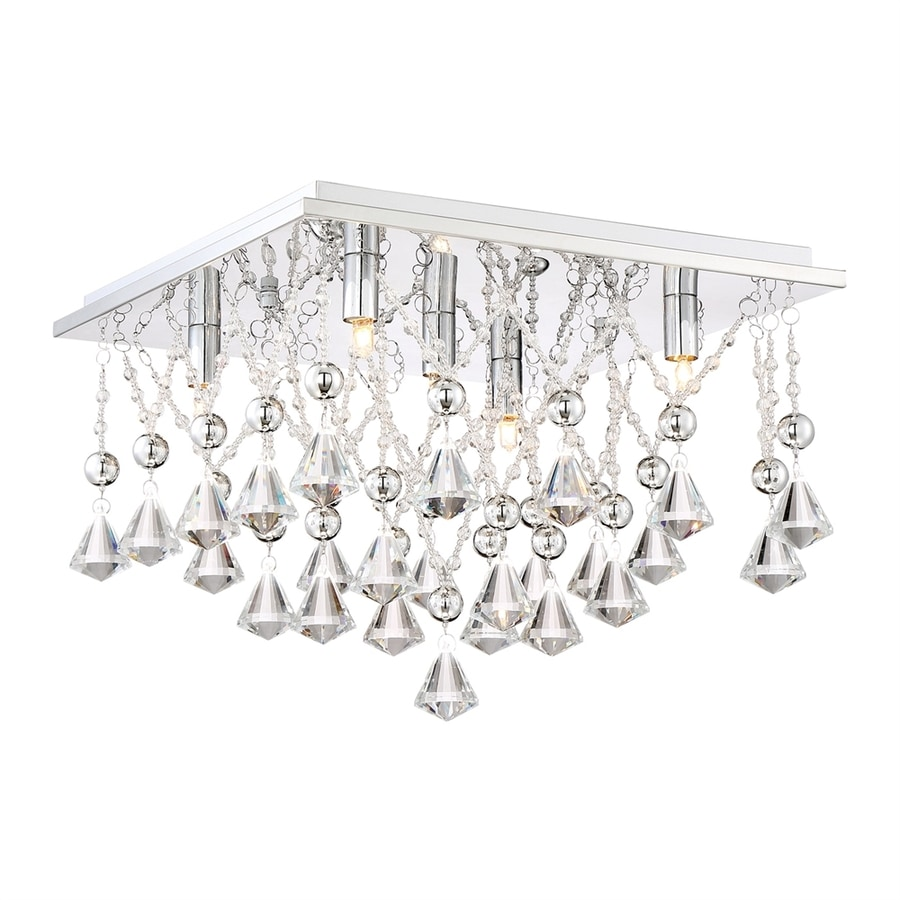 Quoizel Crystal Drape 15-in W Polished chrome Crystal Accent Flush Mount Light