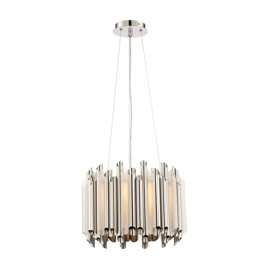 Quoizel Pipeline 16-in Polished Nickel Single Etched Glass Drum Pendant