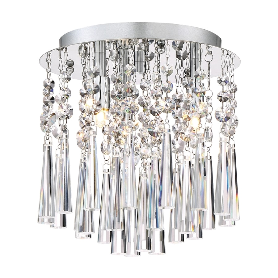 Quoizel Tower 10-in W Polished Chrome Crystal Accent Flush Mount Light
