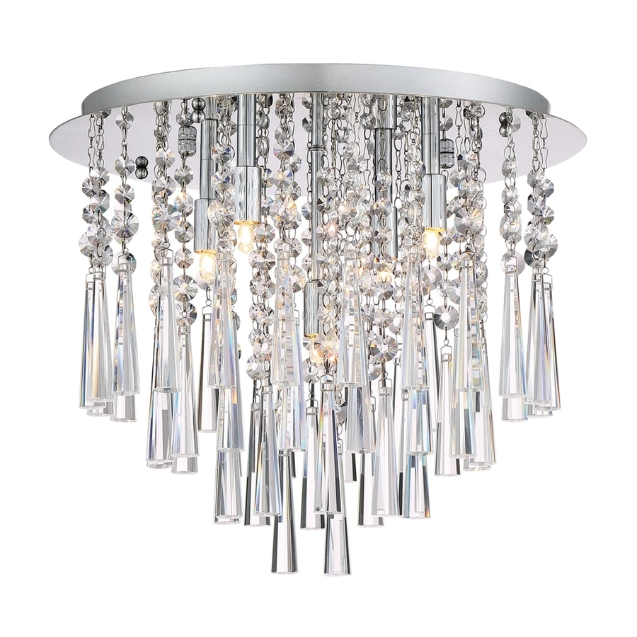 Quoizel Tower 15.75-in W Polished chrome Crystal Accent Flush Mount Light