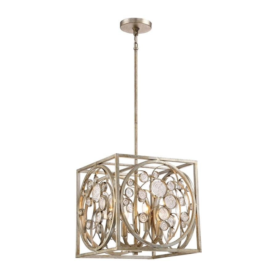 Quoizel Artistry 14-in Vintage Gold Single Textured Glass Square Pendant