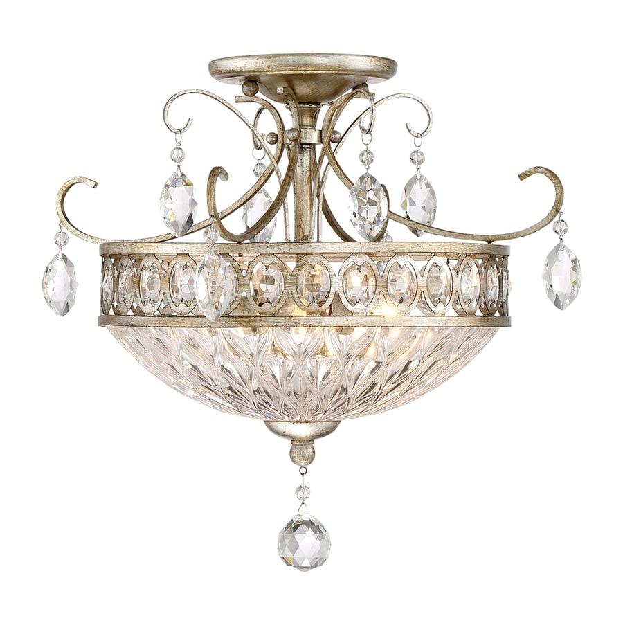 Quoizel Emma 16.5-in W Vintage silver Crystal Semi-Flush Mount Light