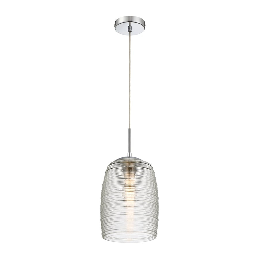 Quoizel Rebound 9-in Polished Chrome Mini Textured Glass Cylinder Pendant