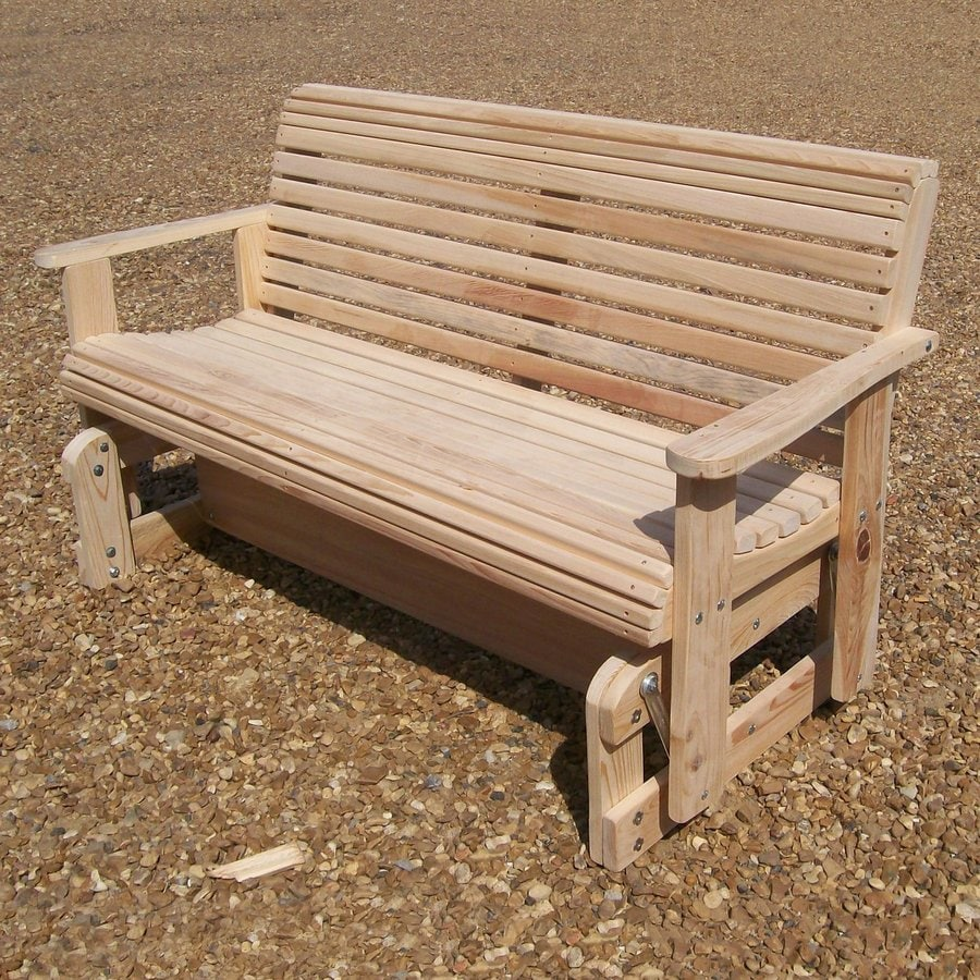 LA Cypress Swings 29-in W x 60-in L Cypress Patio Bench