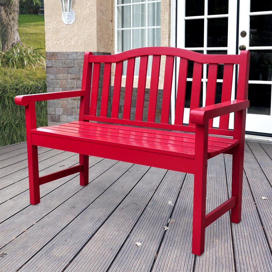 Shine Company 44.75-in x 22-in Chili Pepper Cedar Patio Bench