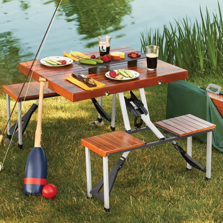 leisure season 2 ft 9 in brown wood and aluminum rectangle folding picnic table at. Black Bedroom Furniture Sets. Home Design Ideas