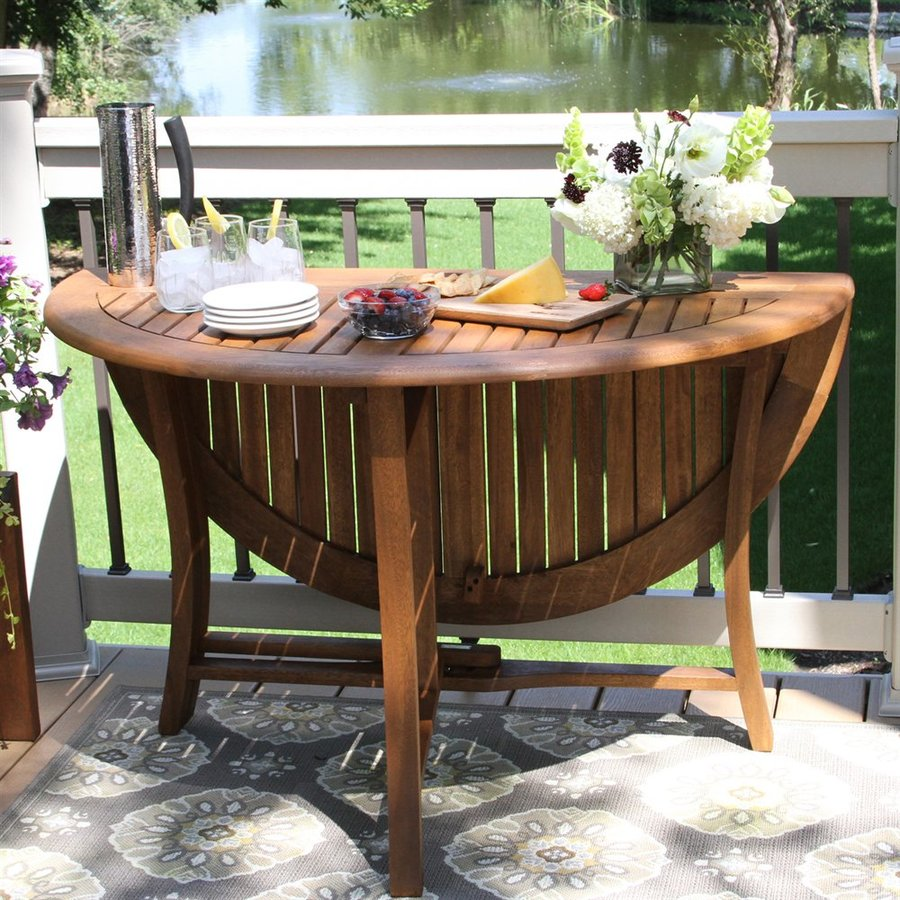 Outdoor round dining table - Outdoor Interiors 48 In W X 48 In L Round Eucalyptus Folding Dining Table