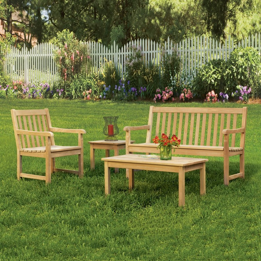 Oxford Garden Classic 4-Piece Shorea Patio Conversation Set