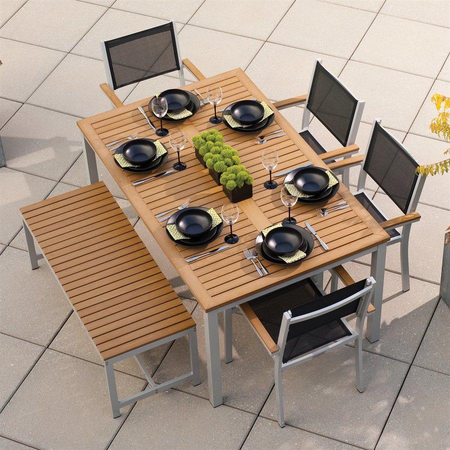Oxford Garden Travira 6-Piece Natural Tekwood Composite Material Patio Dining Set