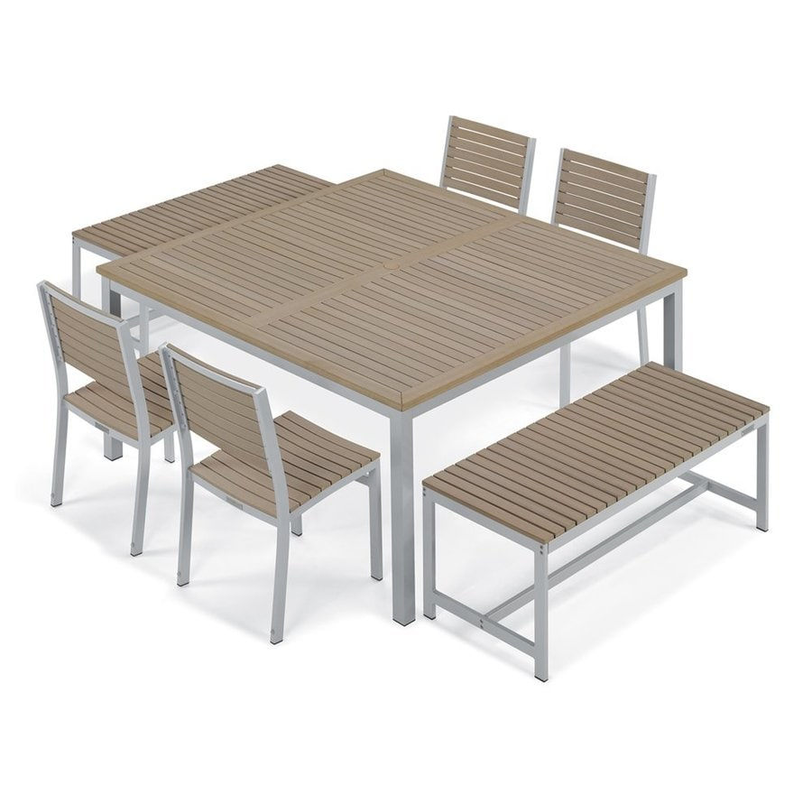 Oxford Garden Travira 7-Piece Vintage Tekwood Composite Material Patio Dining Set
