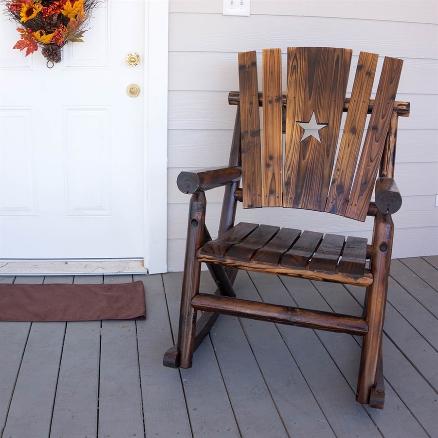 Shop Char Log Pine Rocking Chair With Slat Seat At Lowes Com