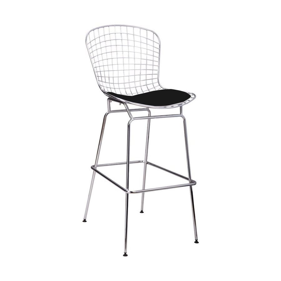 Mod Made 1-Count Chrome Steel Patio Bar Stool Chair with Black leatherette Cushion