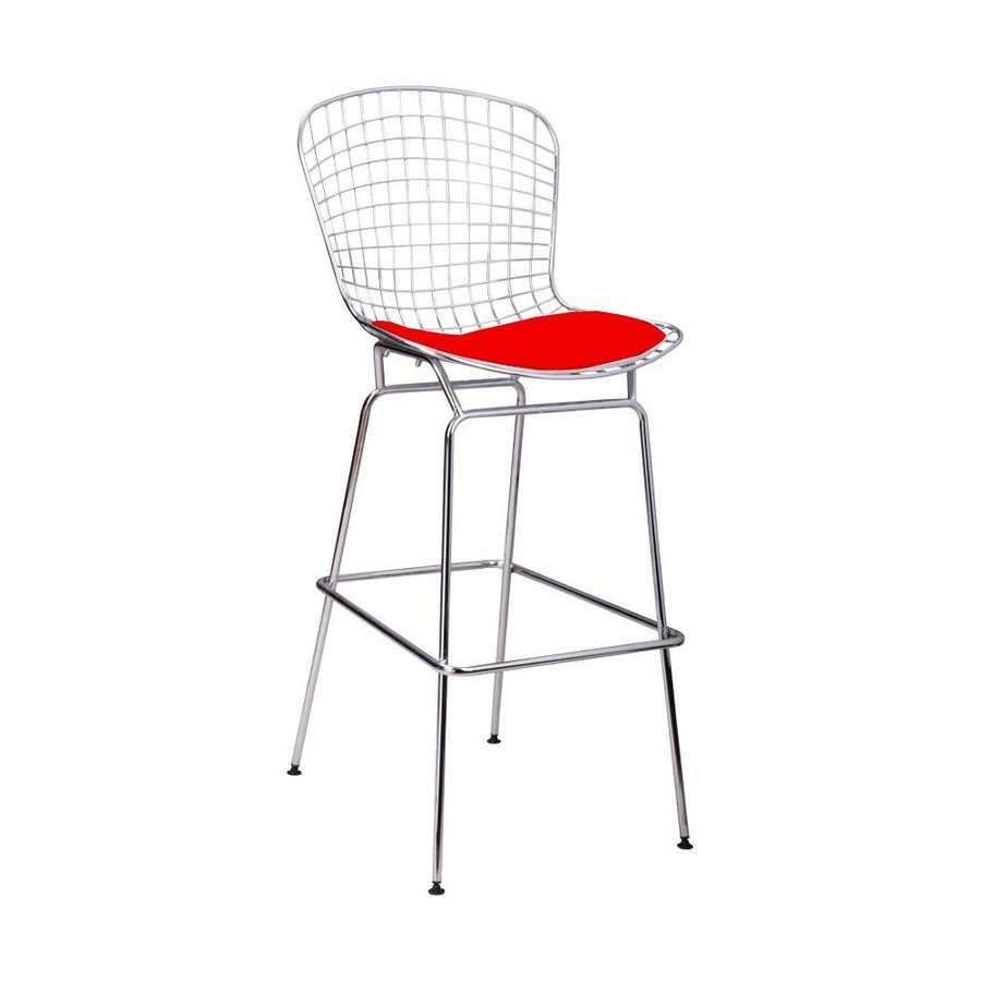 Mod Made 1-Count Chrome Steel Patio Bar Stool Chair with Red leatherette Cushion