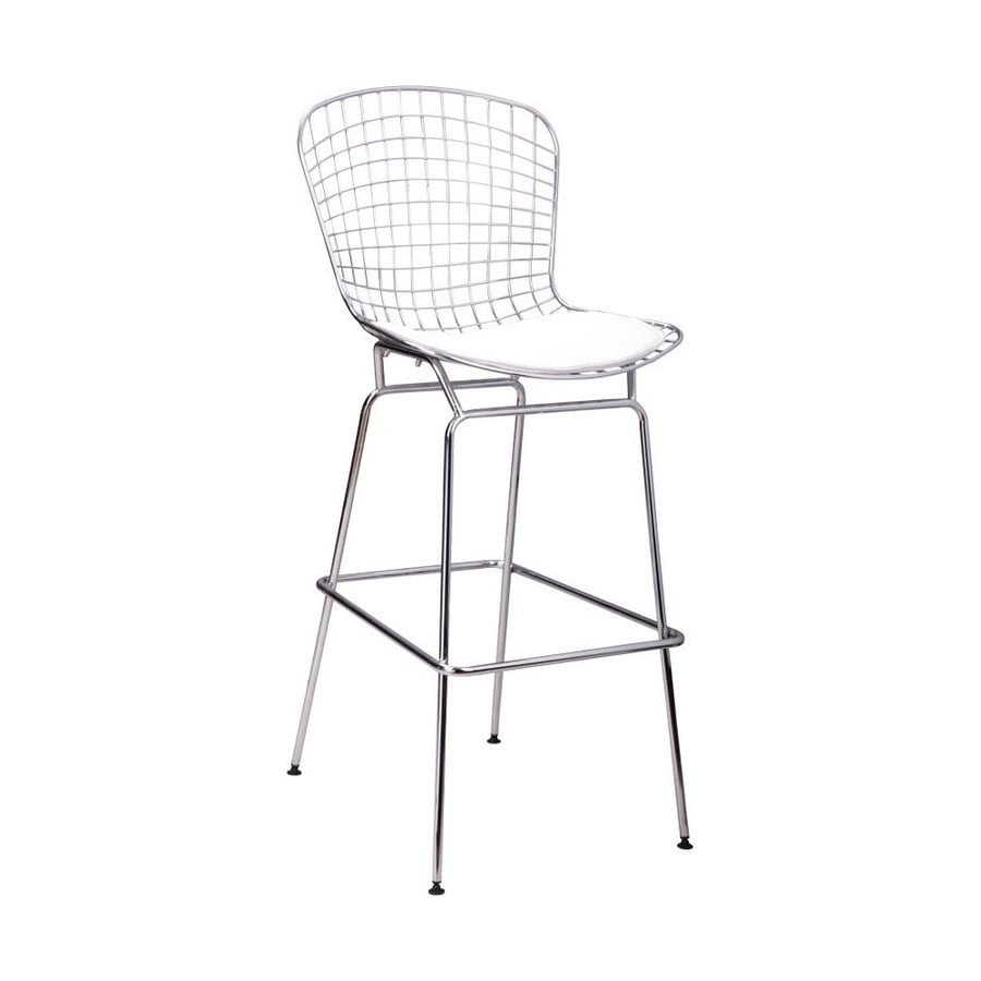 Mod Made 1-Count Chrome Steel Patio Bar Stool Chair with White leatherette Cushion