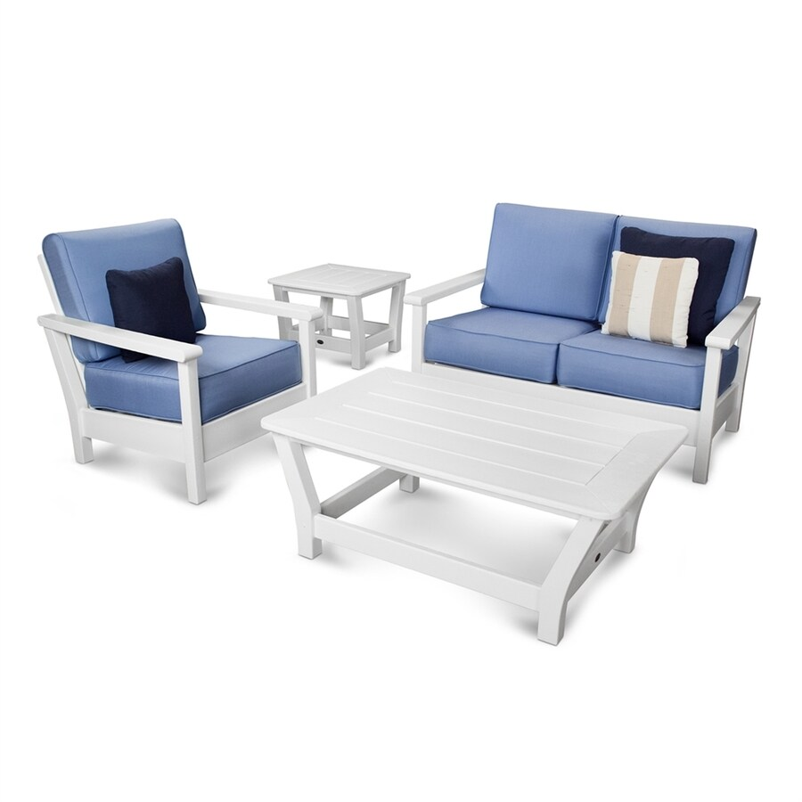 POLYWOOD Harbour 4-Piece Plastic Patio Conversation Set