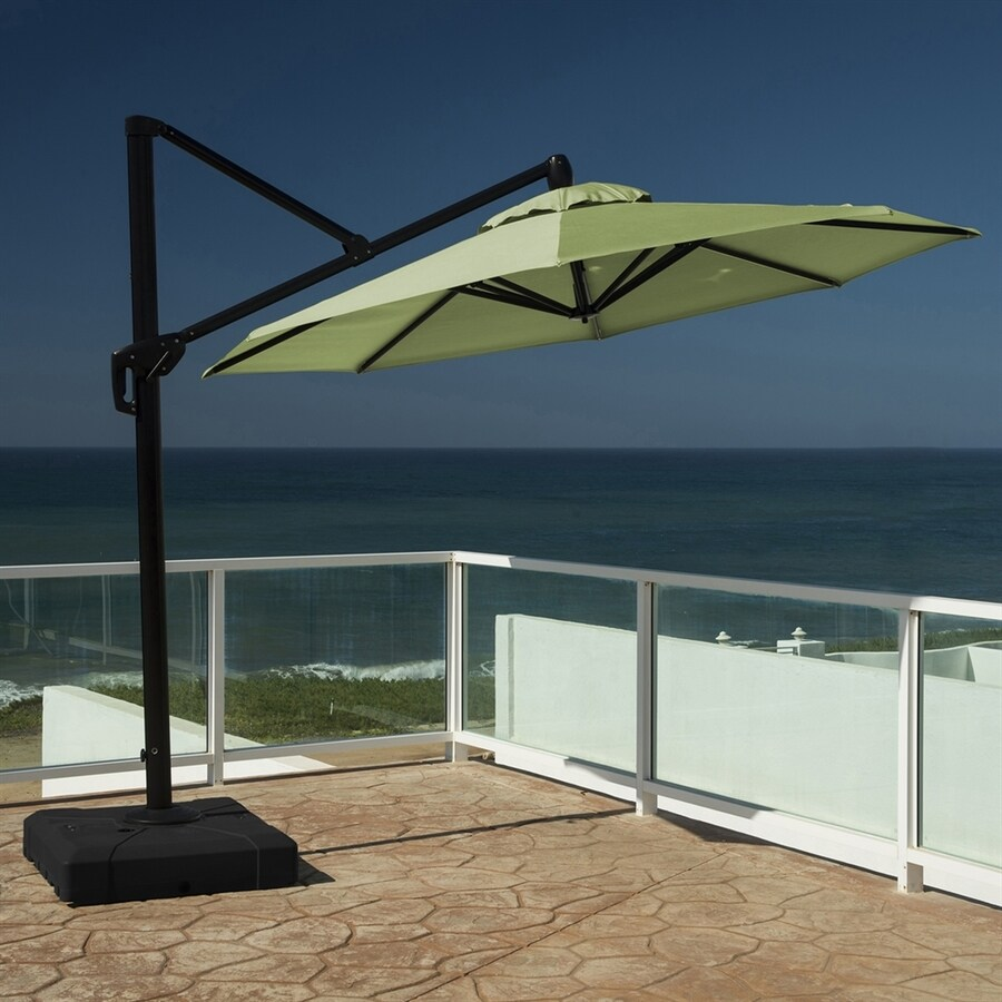 RST Brands Gingko Green Offset Patio Umbrella Base Included (Common: 10-ft W x 10-ft L; Actual: 10-ft W x 10-ft L)