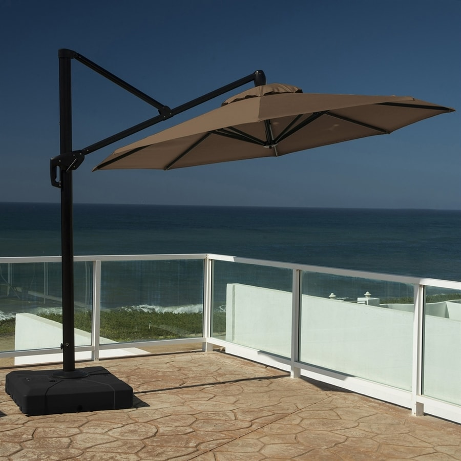 RST Brands Chestnut Brown Offset Patio Umbrella (Common: 10-ft W x 10-ft L; Actual: 10-ft W x 10-ft L)