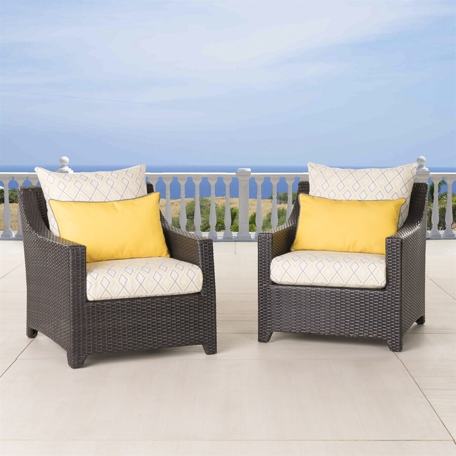 RST Brands Deco Set Of 2 Wicker Conversation Chairs With Sunbrella  Sunflower Yellow Cushions