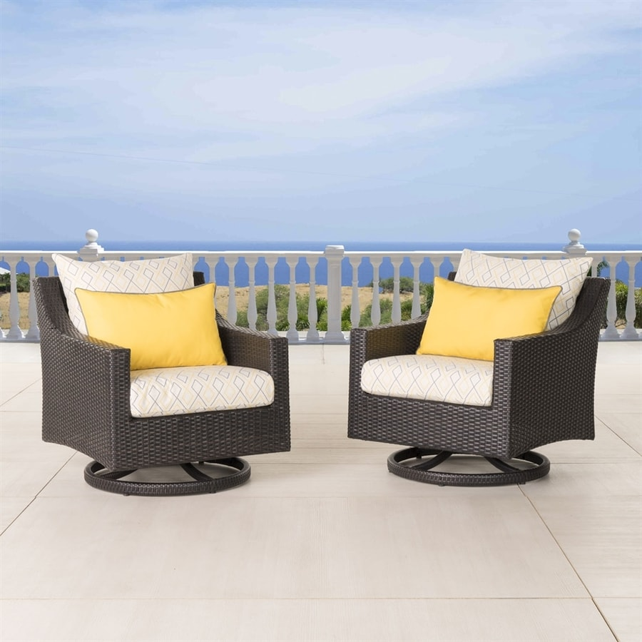 RST Brands Deco 2-Count Espresso Aluminum Wicker Patio Conversation Chair with Sunflower Yellow Sunbrella Cushion(S) Included