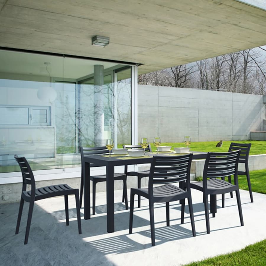 Compamia Ares 7-Piece Black Resin Patio Dining Set