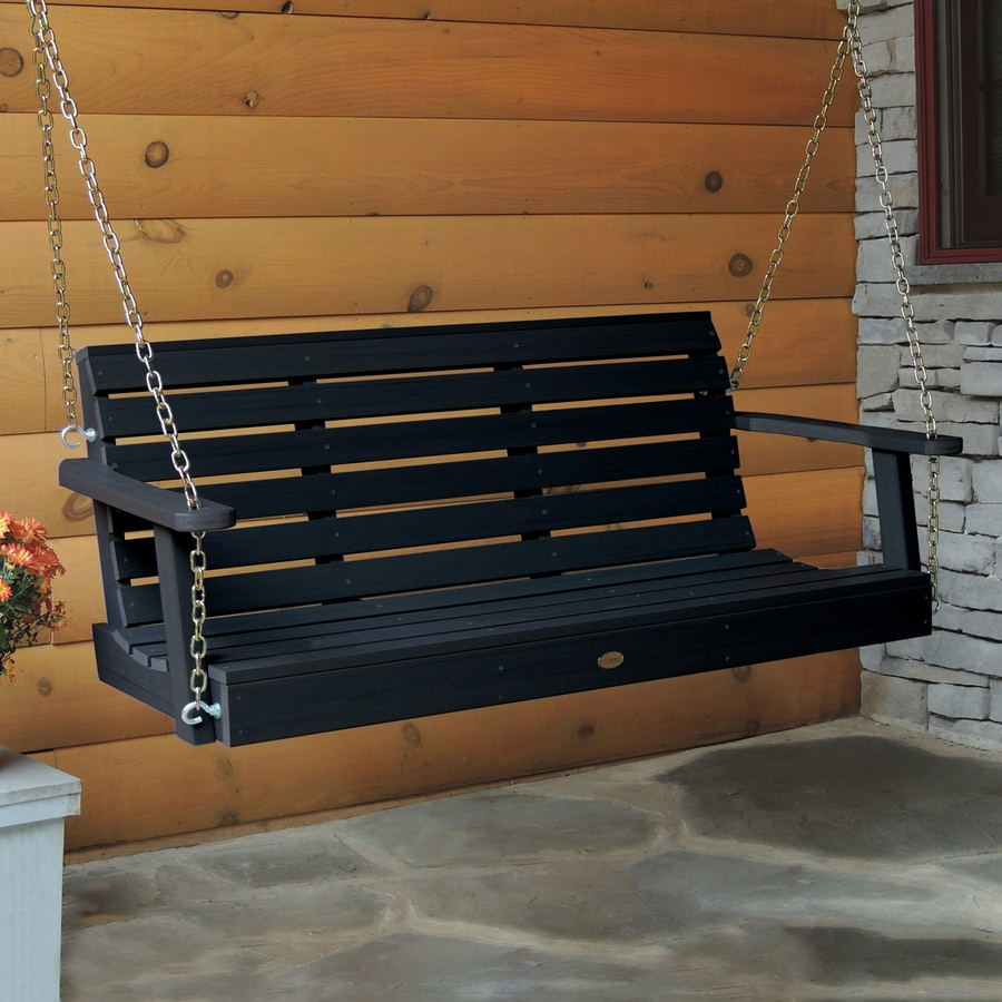 Highwood USA Weatherly Black Porch Swing