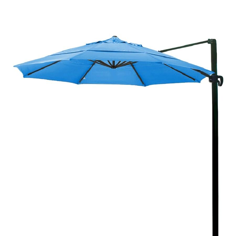 California Umbrella Pacific Blue Offset Patio Umbrella with Base (Common: 11-ft W x 11-ft L; Actual: 11.4-ft W x 11.4-ft L)