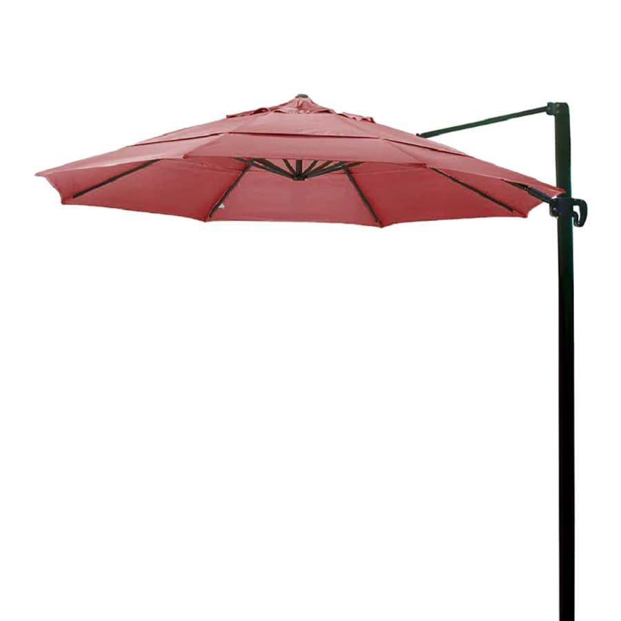 California Umbrella Jocket Red Offset Patio Umbrella with Base (Common: 11-ft W x 11-ft L; Actual: 11.4-ft W x 11.4-ft L)