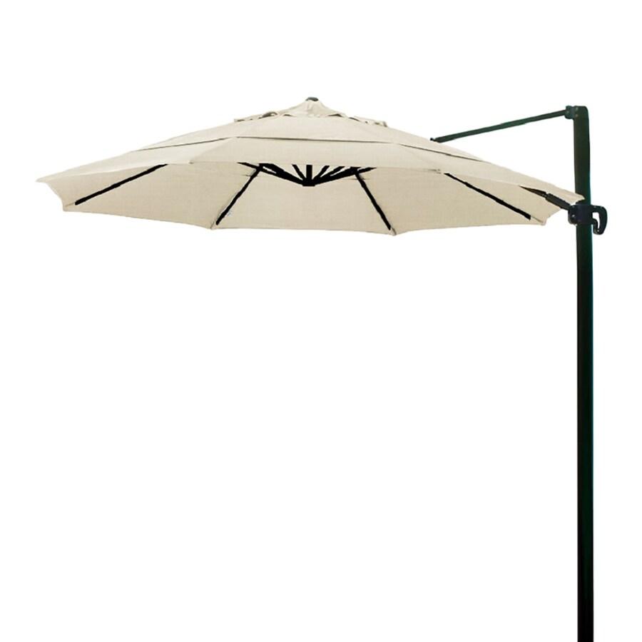 California Umbrella Antique Beige Offset Patio Umbrella with Base (Common: 11-ft W x 11-ft L; Actual: 11.4-ft W x 11.4-ft L)