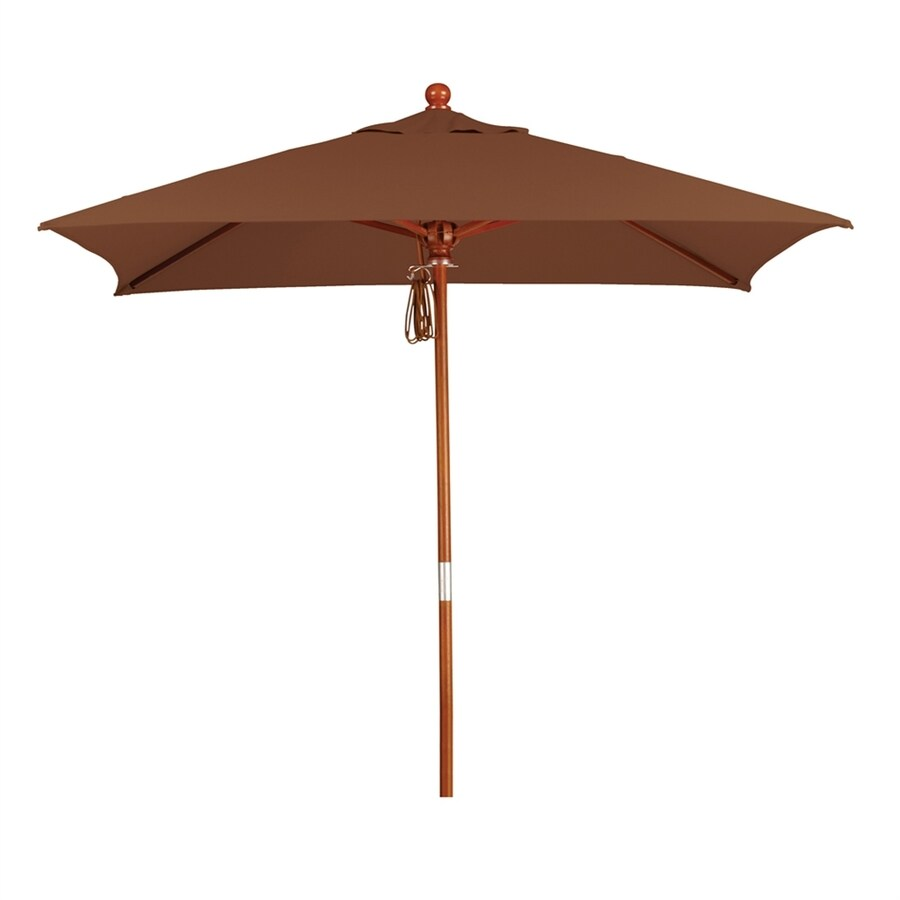 California Umbrella MARE Teak Market Patio Umbrella (Common: 6-ft W x 6-ft L; Actual: 6-ft W x 6-ft L)
