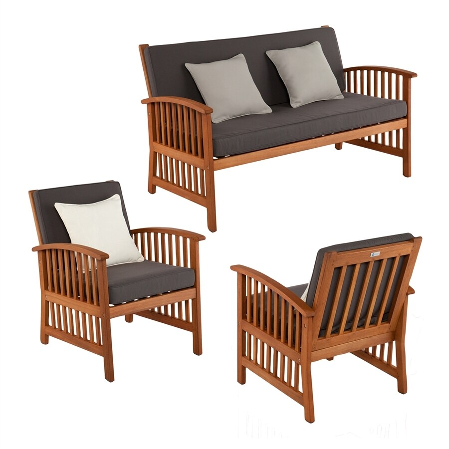 Boston Loft Furnishings Garner 3-Piece Eucalyptus Patio Conversation Set