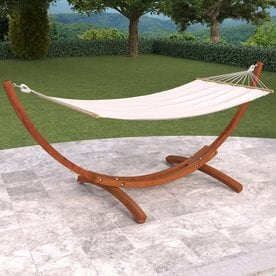 CorLiving Wood Canyon White Fabric Hammock With Stand