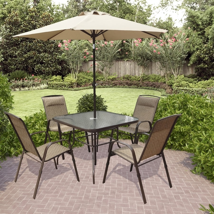 CorLiving 6 Piece Dark Brown Glass Patio Dining Set